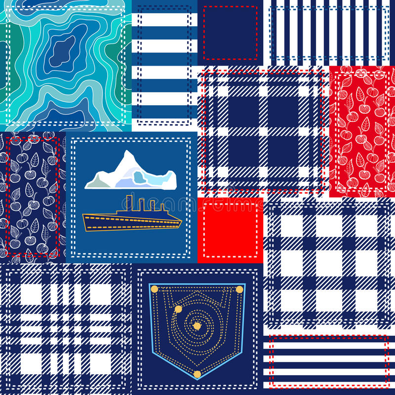 Blue, white and red patchwork. Bohemian style collage made from cotton flaps. Set of seamless vector patterns. Checkered fabrics, vintage roses, wild flowers stock illustration