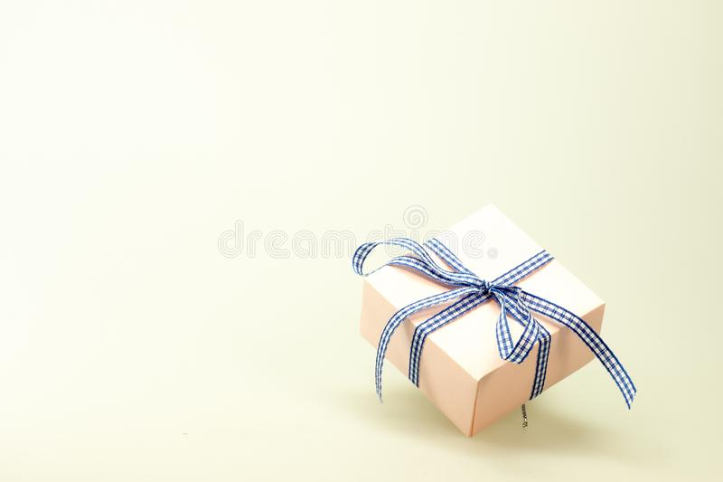 Blue White Ribbon on Pink Box royalty free stock images