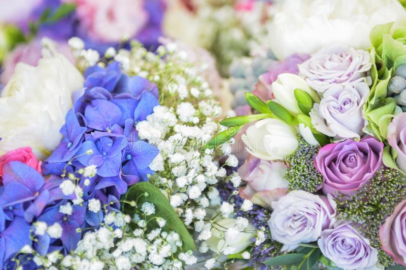 Blue, white and rose flower bouquet with blurred background stock photo