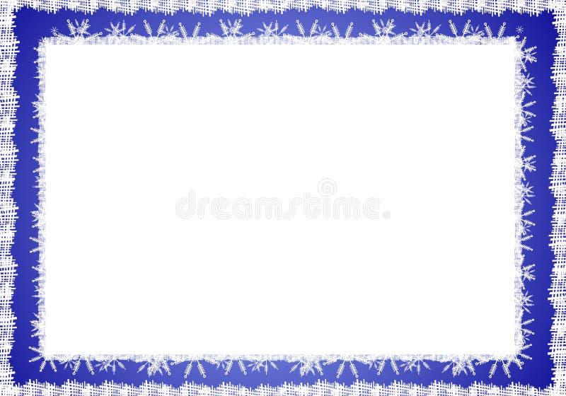 Blue White Rustic Snowflake Border stock photos