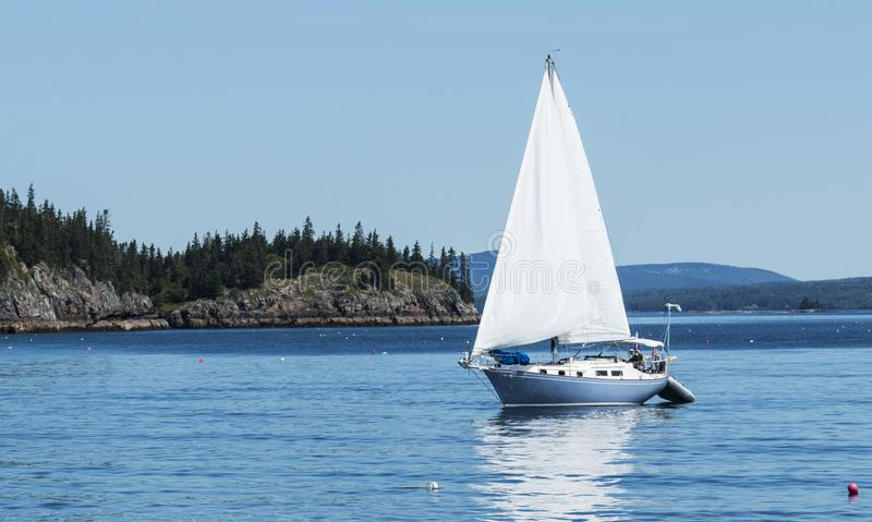 Sailing though Frenchman Bay Maine and lobster buoys stock photography