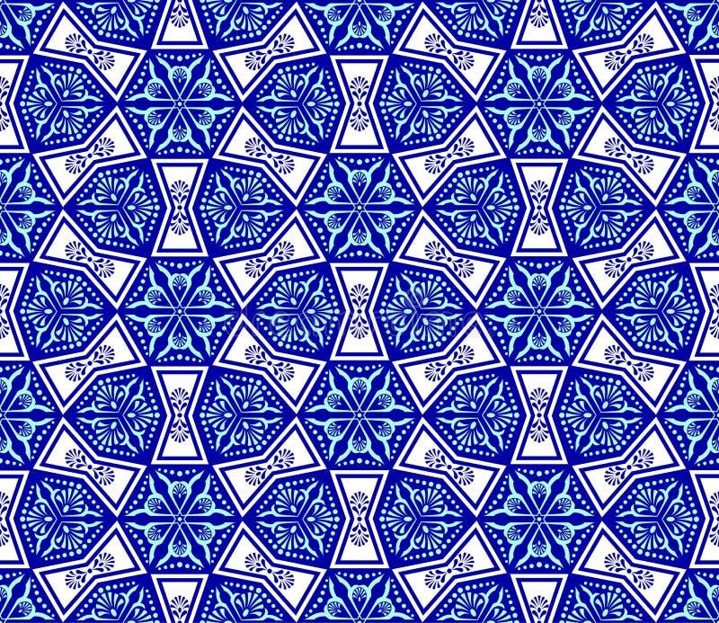 Blue on white seamless arabesque stock illustration