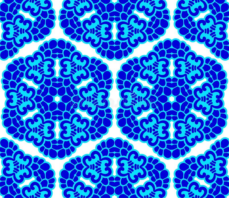 Blue on white seamless honeycomb arabesque vector illustration