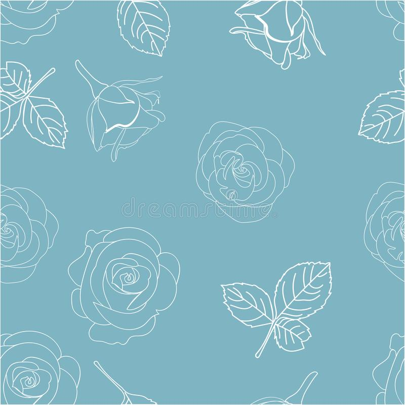 Blue and White seamless pattern with roses royalty free stock photography