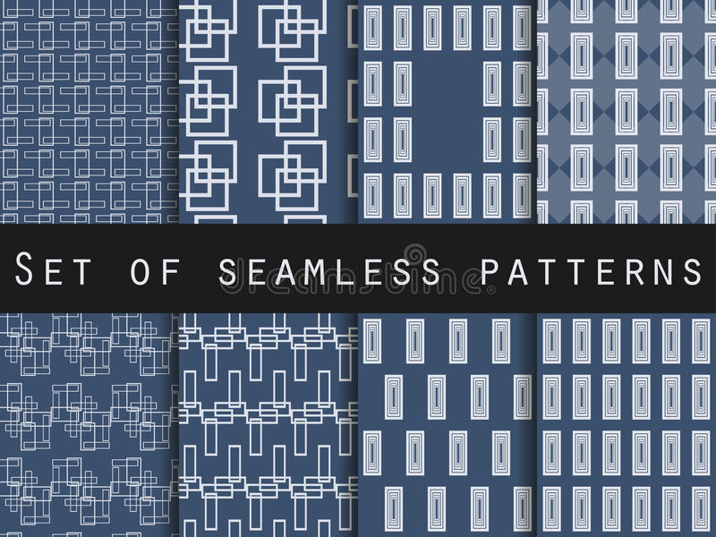 Blue and white seamless patterns. Geometric patterns. Vector illustration. royalty free illustration