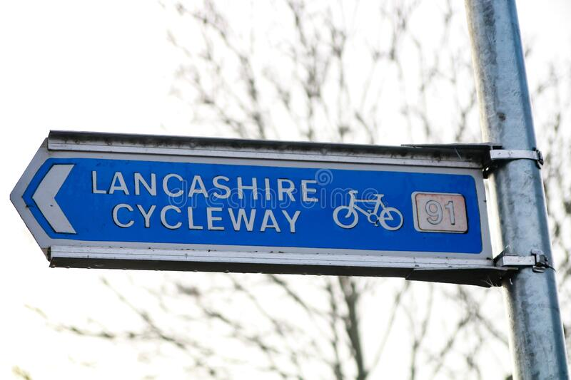 Cycleway sign. The blue and white sign for the lancashire cycleway stock photo