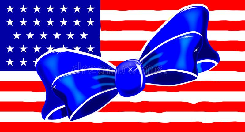 Patriotic Silk Bow stock illustration