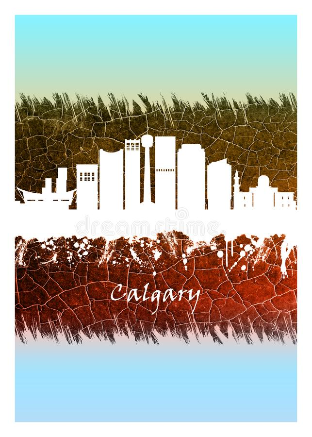 Calgary skyline Blue and White. Blue and White skyline of Calgary, a cosmopolitan Alberta city with numerous skyscrapers royalty free illustration