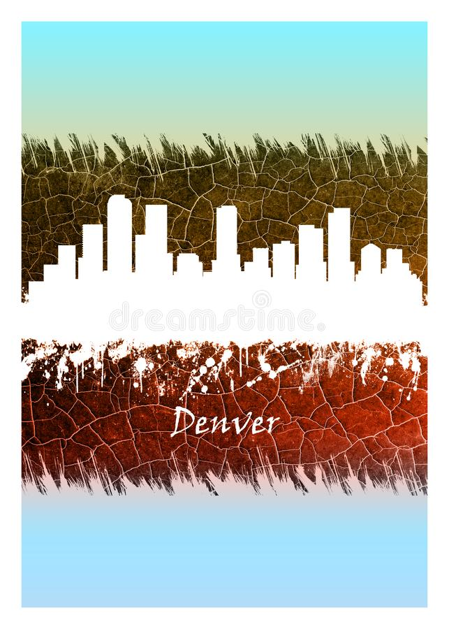 Denver Skyline Blue and White. Blue and White skyline of Denver, the capital of Colorado, an American metropolis dating to the Old West era royalty free illustration