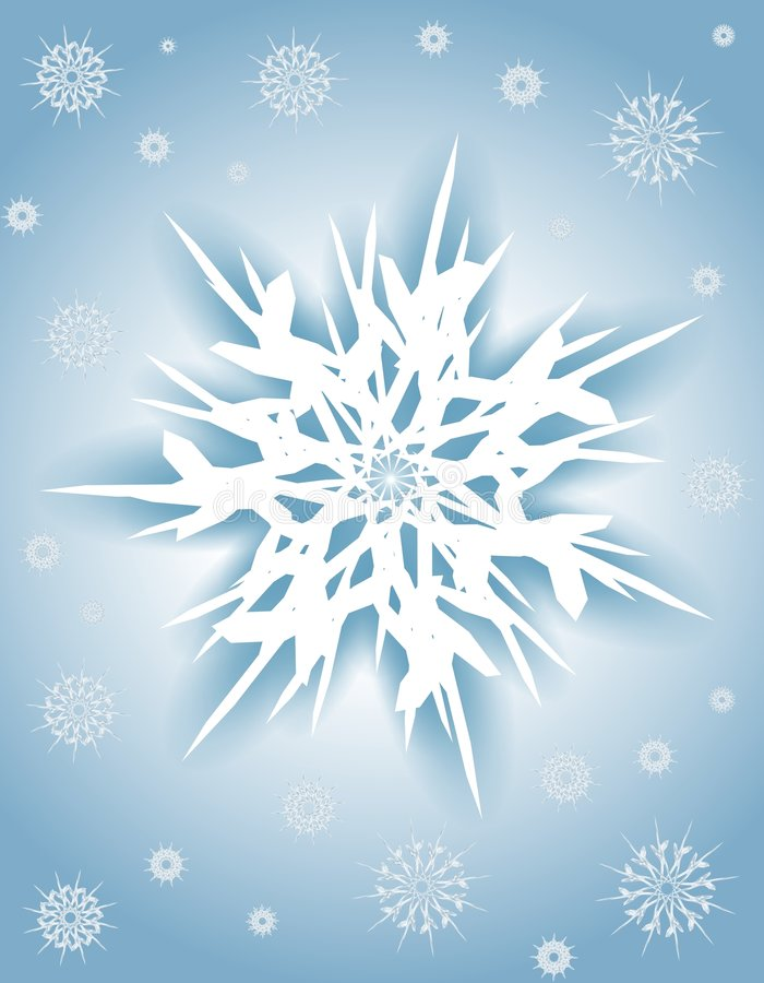 Blue White Snowflake Xmas Background. A background illustration featuring a snowflake design surrounded with smaller snowflakes in white and blue gradient colors vector illustration