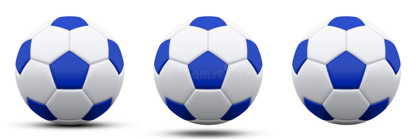 Blue and white soccer ball in three versions, with and without shadow. Isolated on white. 3d render. stock illustration
