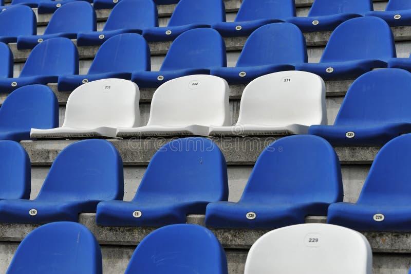 Blue and white stadium seats stock images
