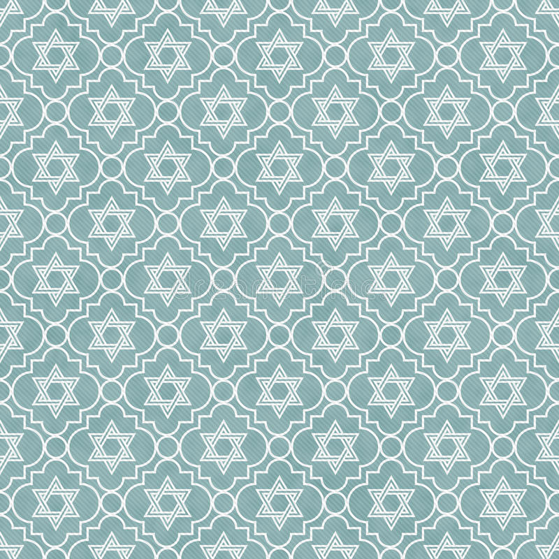 Blue and White Star of David Repeat Pattern Background stock illustration