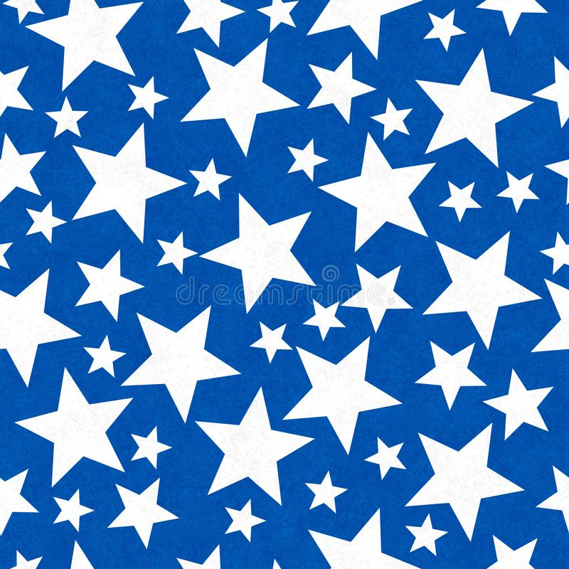 Blue and white star-shape seamless pattern background stock image