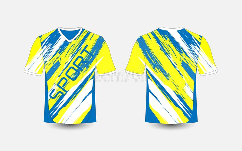 Blue and White stripe pattern sport football kits, jersey, t-shirt design template. Illustration vector stock illustration