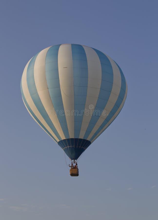 Blue and White Striped Balloon stock photo