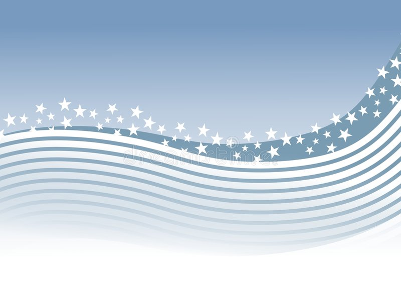 Blue White Stripes Stars Swoosh Background vector illustration