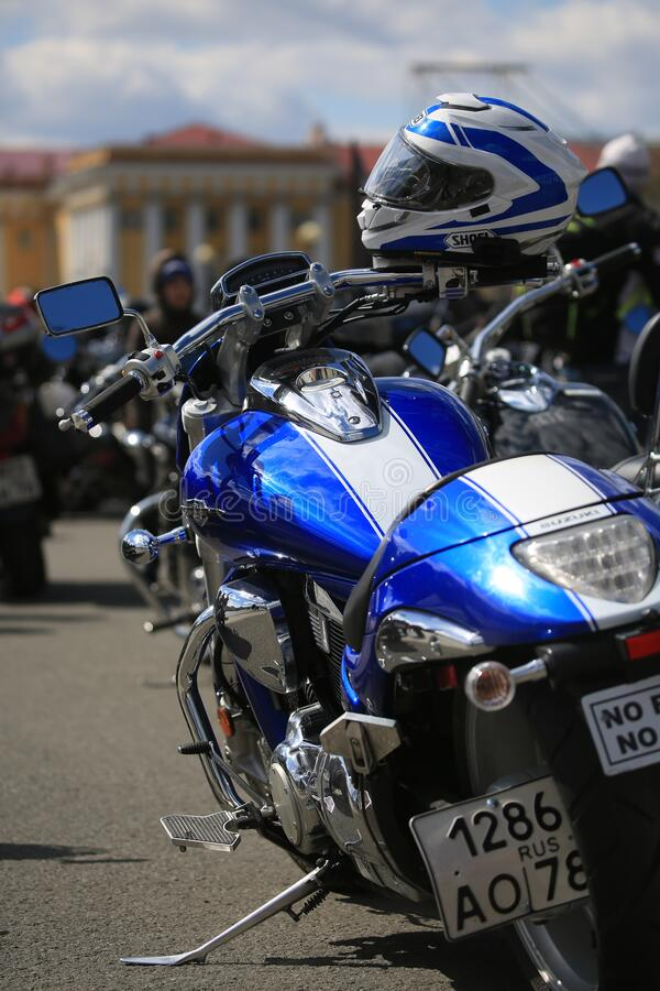 Blue and white Suzuki Boulevard motorcycle. Rear view, close-up. Palace Square royalty free stock photography