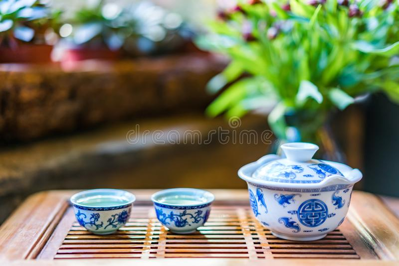 Blue and white tea sets and tea drinks stock photography