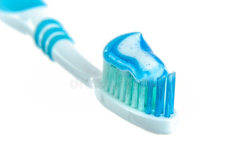 Blue And White Toothpaste On Toothbrush Free Public Domain Cc0 Image