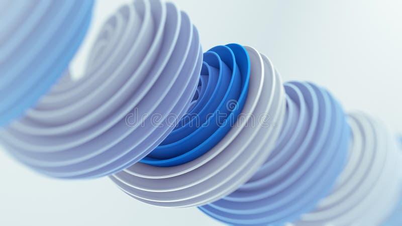 Blue white twisted spiral shape 3D render with DOF vector illustration