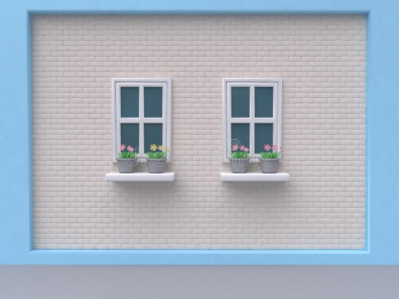 Blue white wall brick two windows and pink flower-pot cartoon style 3d render. Ing royalty free stock images