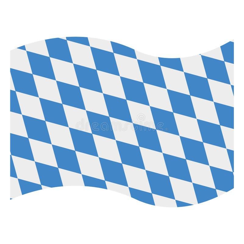 Waving Bavarian Flag. Blue and white waving flag of Bavaria isolated on white background royalty free illustration