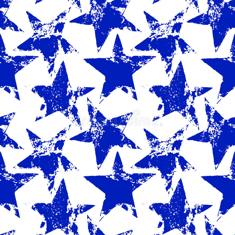 Blue and white worn grunge stars seamless pattern, vector royalty free illustration