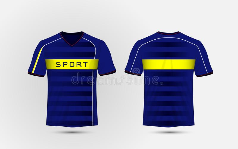 Blue, white and yellow layout football sport t-shirt, kits, jersey, shirt design template. Illustration vector royalty free illustration