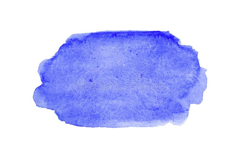 Blue wide watercolor brushstroke backdrop. Hand drawn water strokes, paper texture, isolated spot on white background. Wet brush royalty free stock images