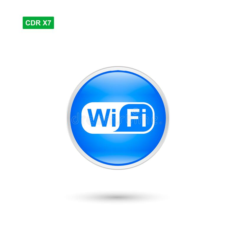Blue wifi button vector symbol isolated stock illustration