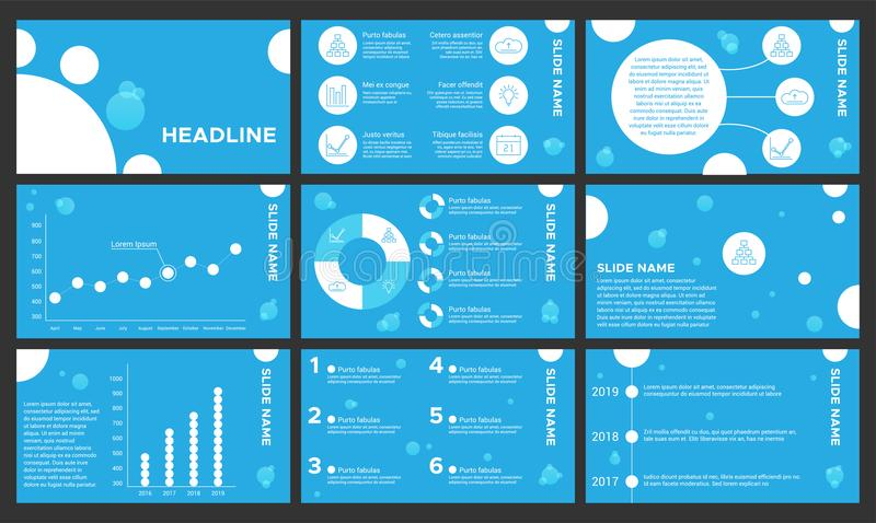Blue and wight presentation templates. Elements for infographics, flyer and leaflet, banner, advertising, corporate. Report, marketing, annual report royalty free illustration