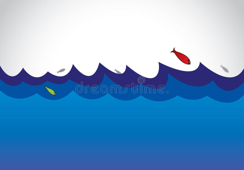 Blue wild ocean sea surface with fish jumping out of water art royalty free illustration