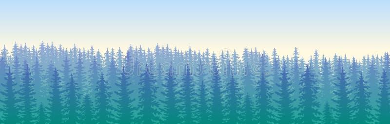 The blue wildforest landscape royalty free illustration