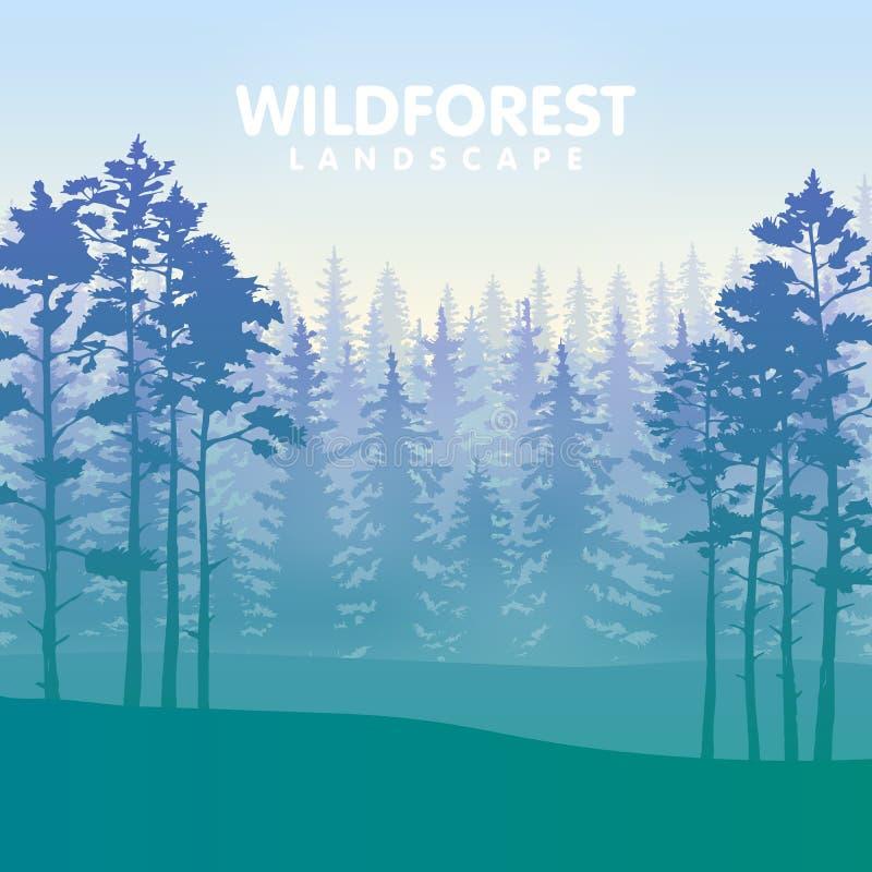 The blue wildforest landscape stock illustration