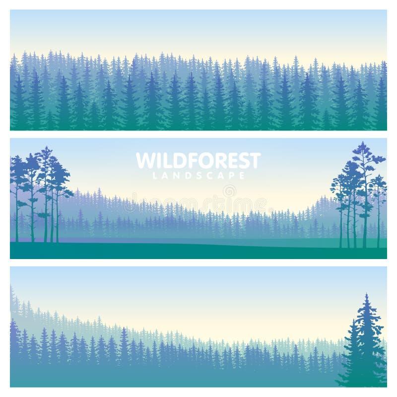 The blue wildforest landscape set vector illustration