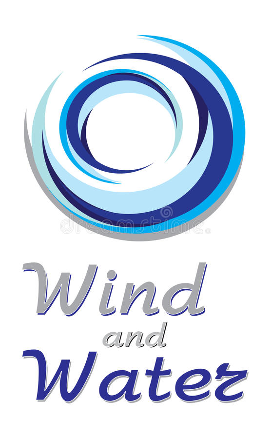 Blue wind and water sign. Circular abstract wind and water sign isolated on white background vector illustration