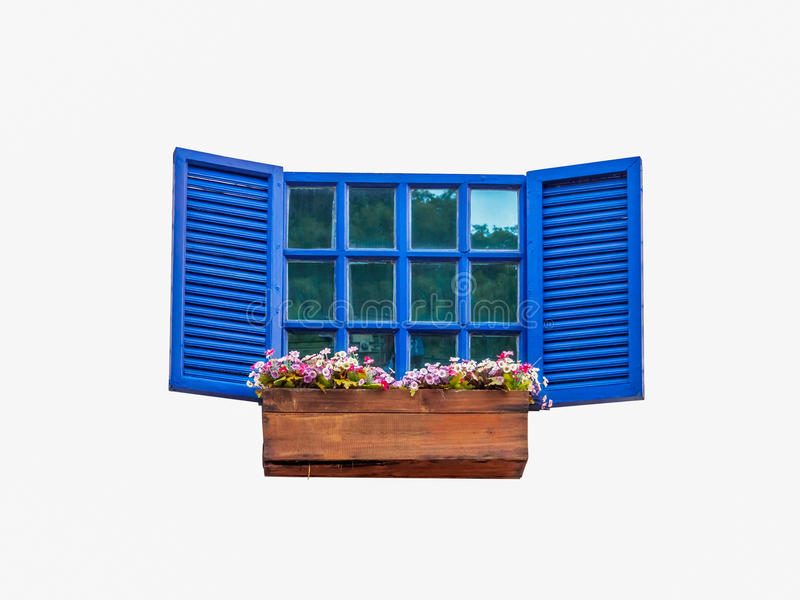 Blue window with a flower pot royalty free stock photo