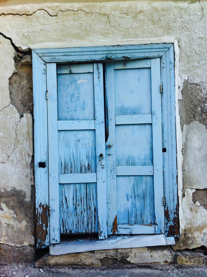 Blue window in the wall royalty free stock images