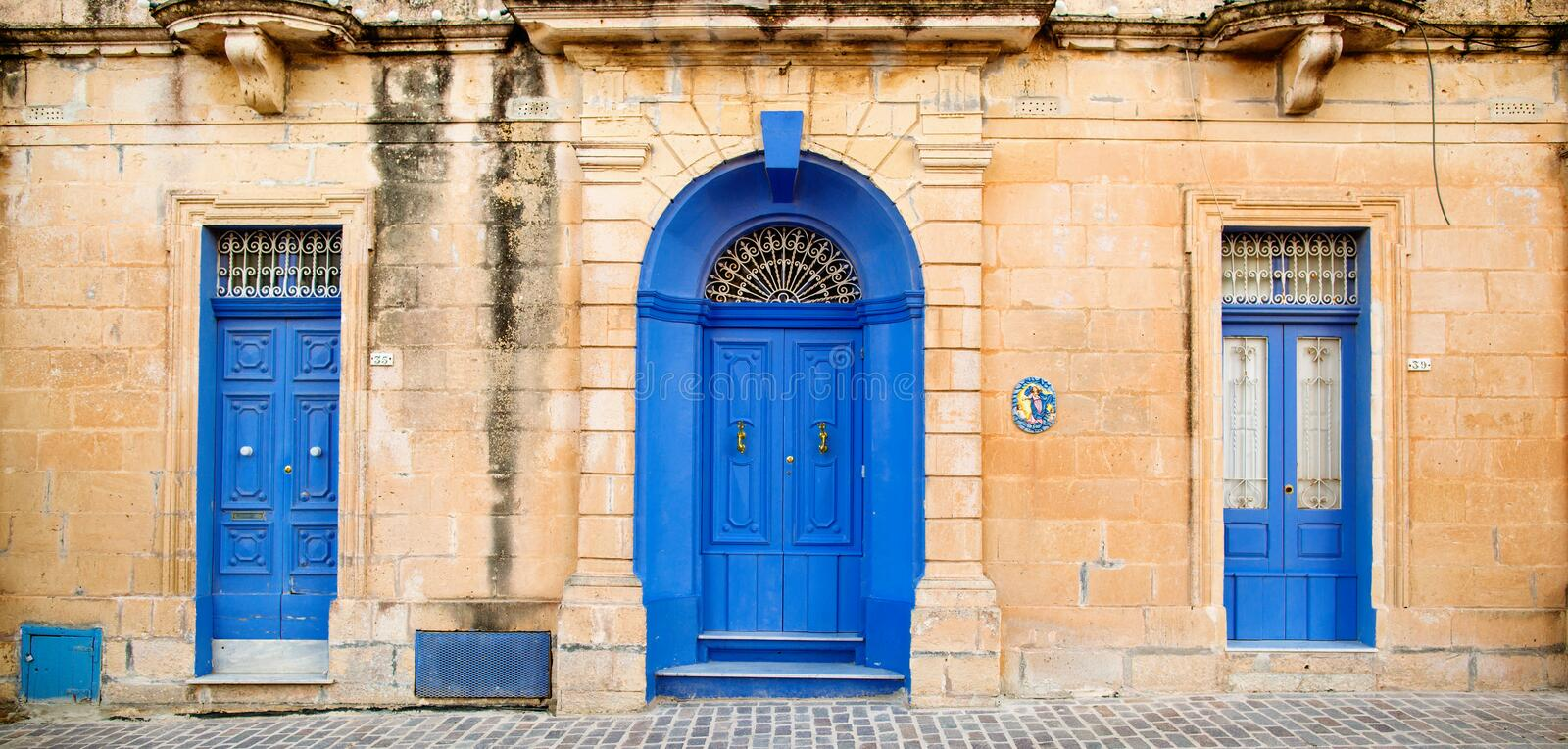 Download Blue Windows and doors stock photo. Image of detail, malta - 88164402