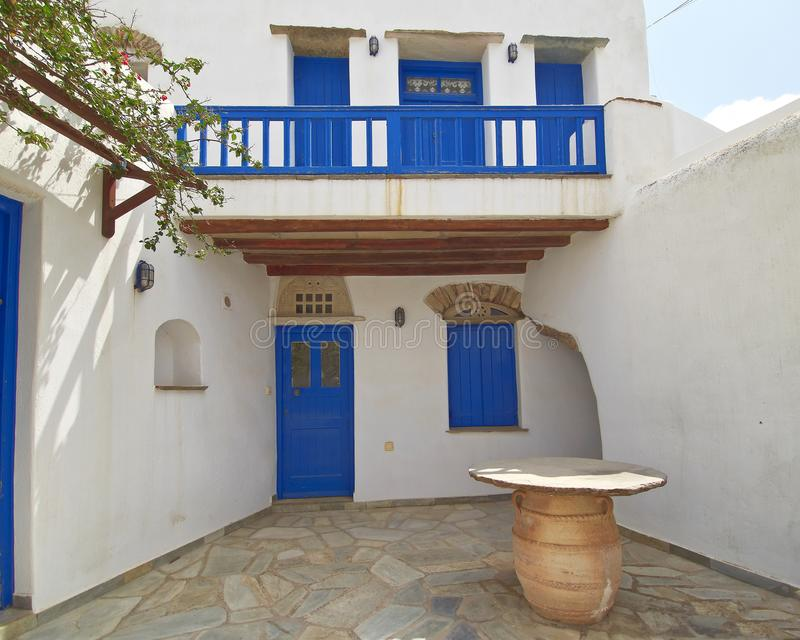 Blue white facade house in a Greek island royalty free stock photography