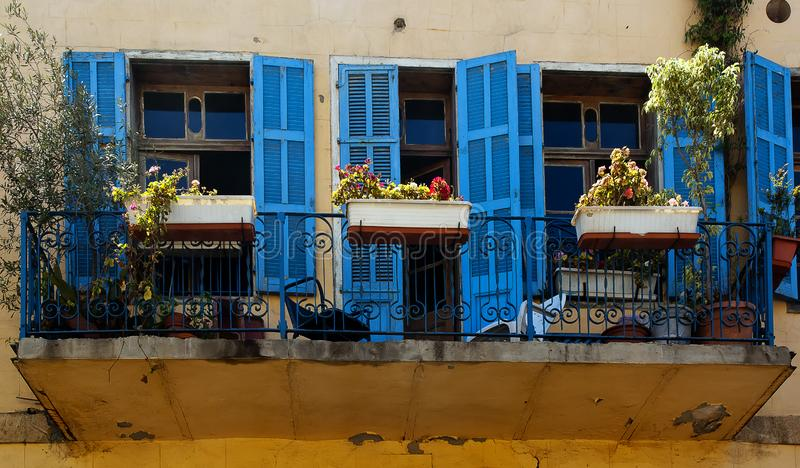 Blue windows Jaffa Israel. An old house with renew windows in Jaffa Israel royalty free stock photography