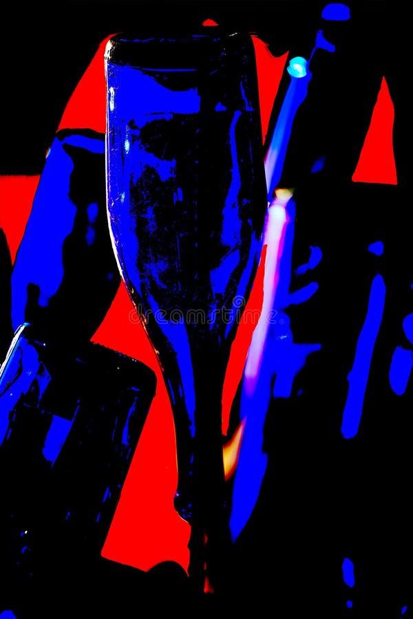 Blue Wine Bottles Against Orange Background royalty free stock image