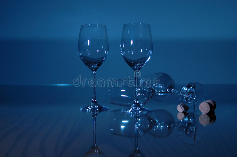 Blue Wine Glasses stock photography