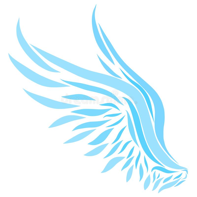 Blue wings painted with smooth lines royalty free illustration