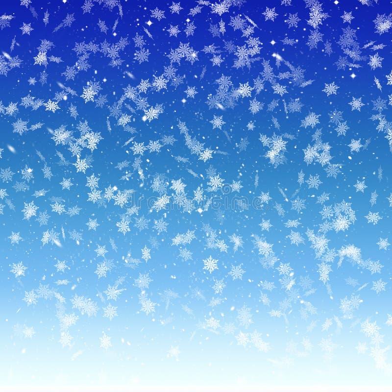 Blue winter background with falling snowflakes, snow, sky, winter, season, gradient, snowfall, Christmas stock illustration