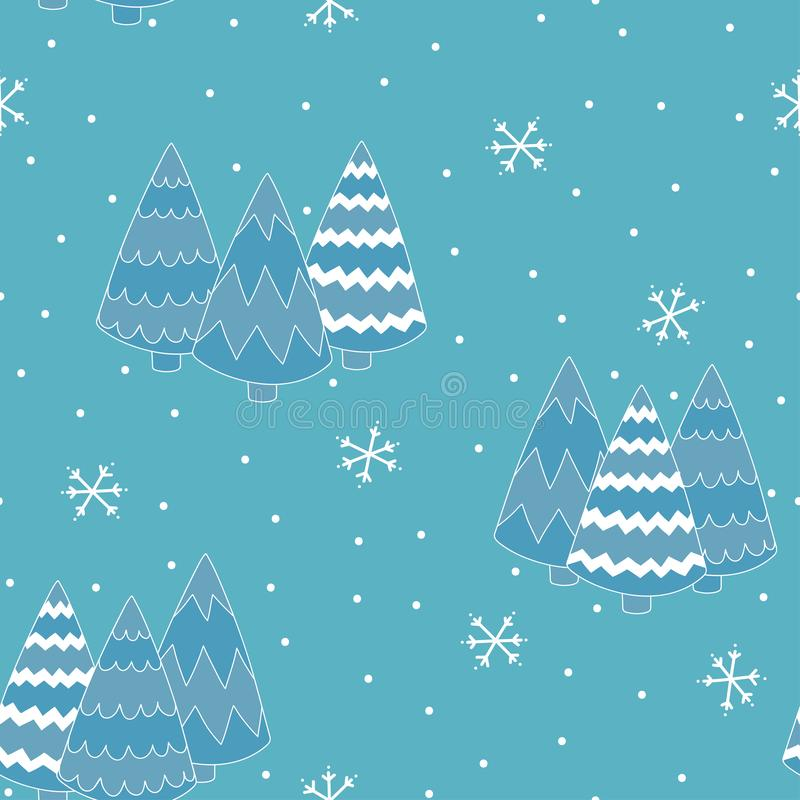 Blue winter background seamless pattern with fir trees. stock illustration