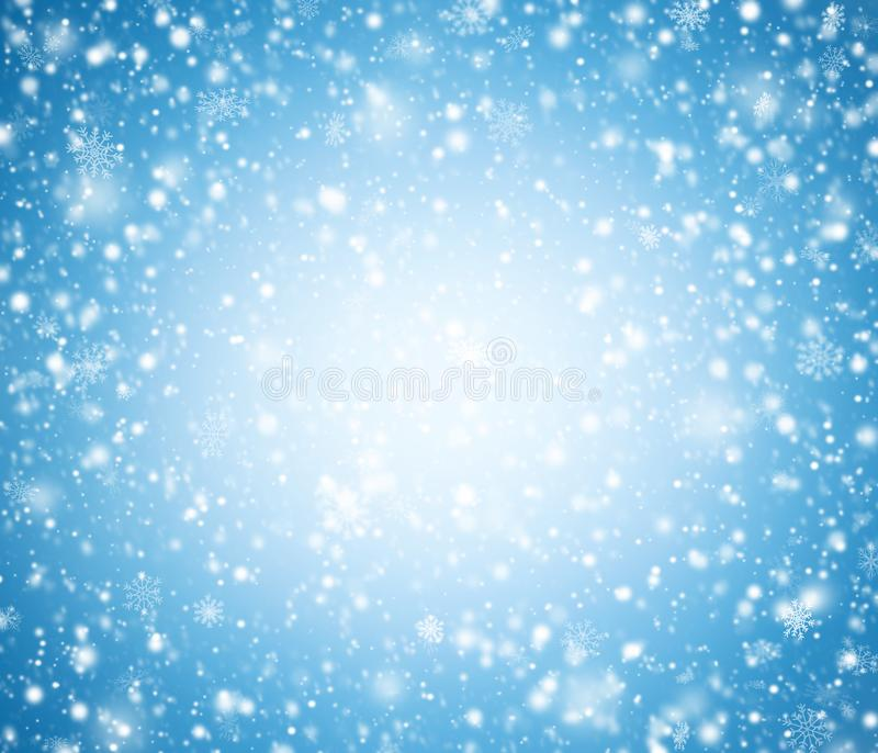 Blue winter background with snowflakes. stock photography