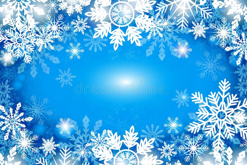 Blue winter background with snowflakes royalty free illustration