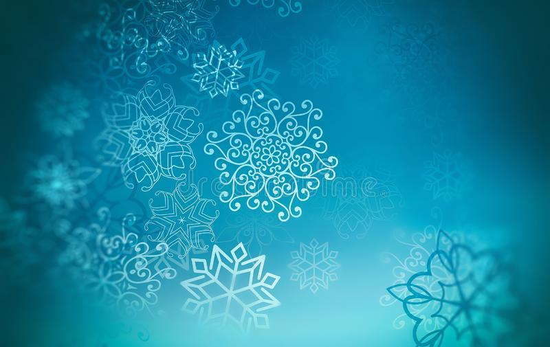 Blue winter background with snowflakes stock photography